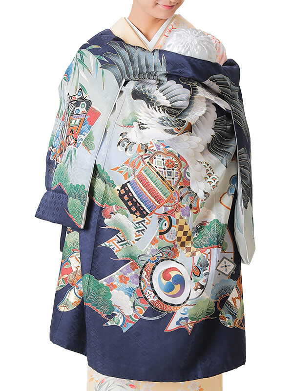 UB-1003 / 紺地に鷹と熨斗のお宮参り産着(祝い着・掛け着) 男の子 正絹