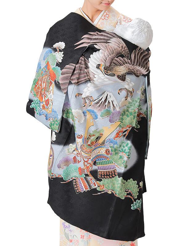UB-2001 / 黒地に鷹と兜、富士のお宮参り産着(祝い着・掛け着) 男の子 正絹