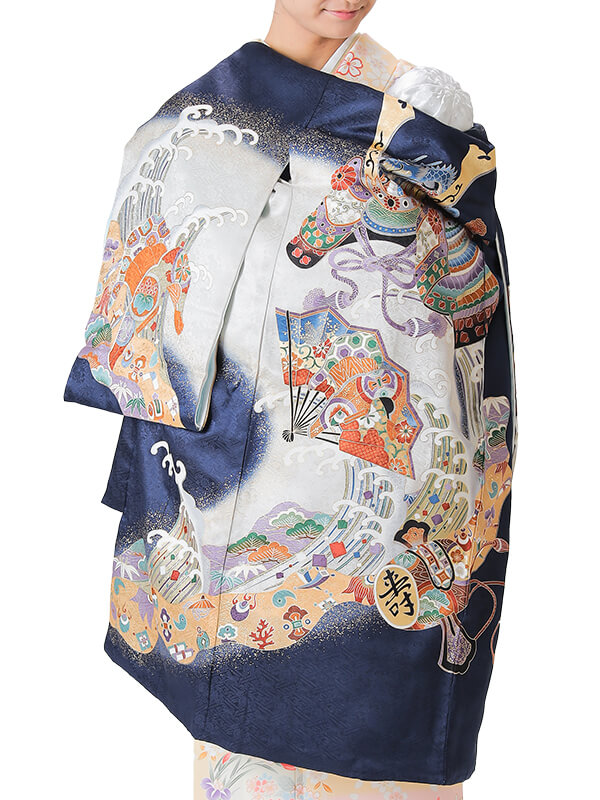 UB-2002 / 紺地に竜頭の兜のお宮参り産着(祝い着・掛け着) 男の子 正絹