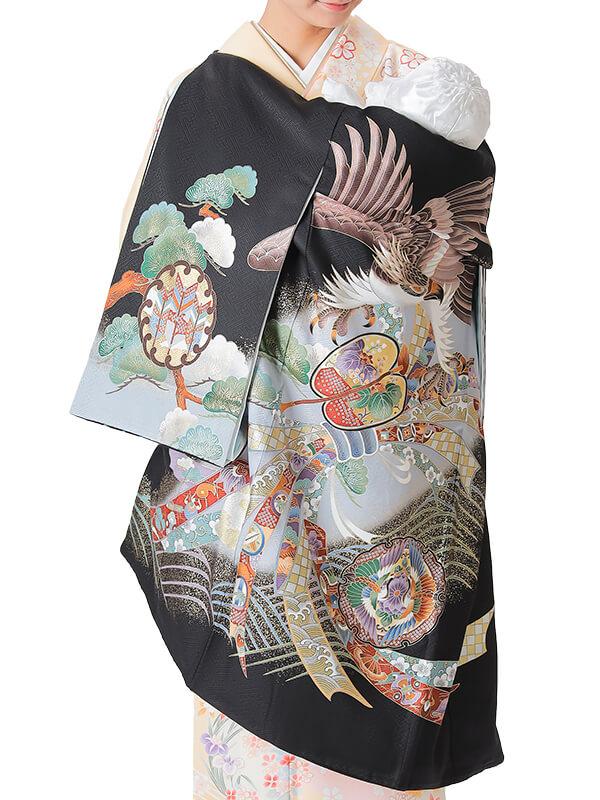 UB-2003 / 黒地に鷹と束ね熨斗のお宮参り産着(祝い着・掛け着) 男の子 正絹