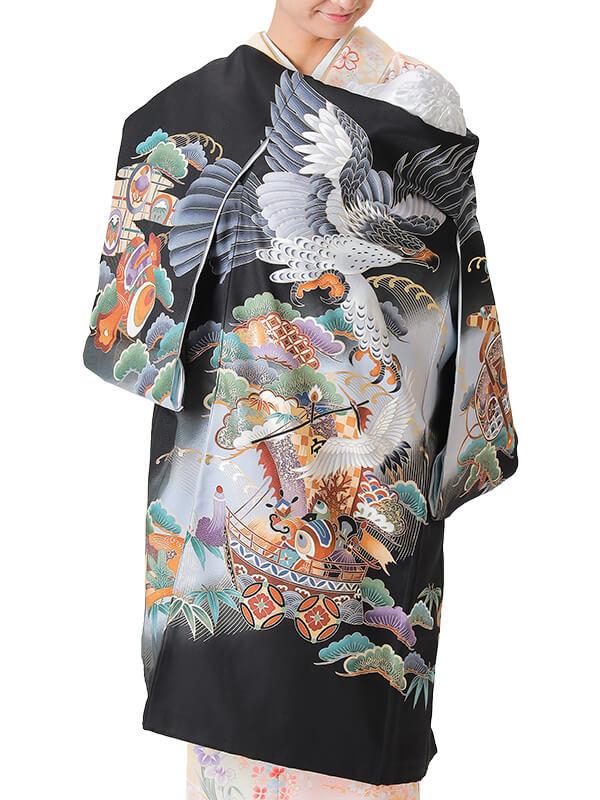 UB-3001 / 黒地に鷹と宝船に鶴のお宮参り産着(祝い着・掛け着) 男の子 正絹