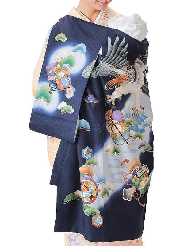 UB-3003 / 紺地に鷹と富士のお宮参り産着(祝い着・掛け着) 男の子 正絹