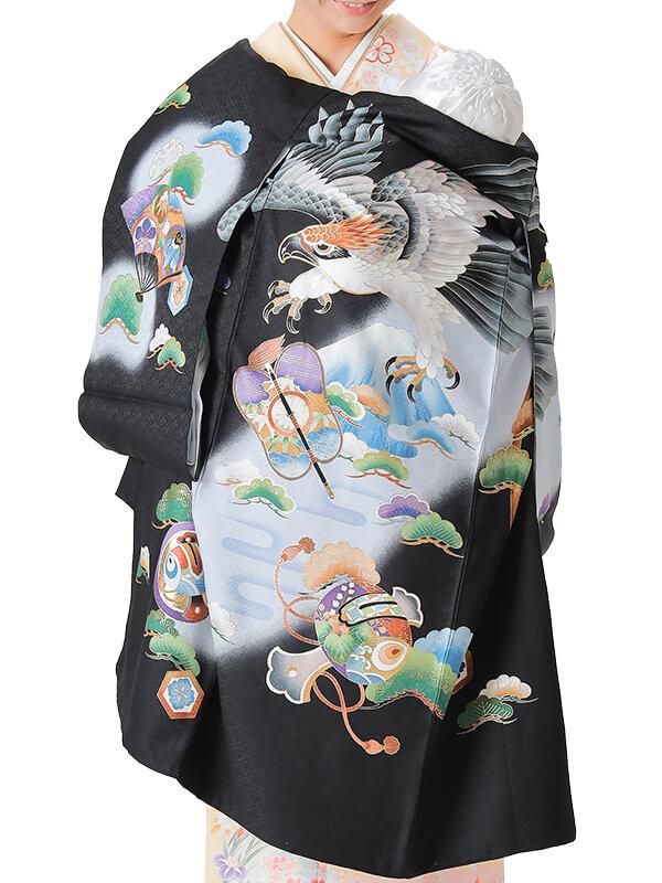 UB-3004 / 黒地に鷹と富士のお宮参り産着(祝い着・掛け着) 男の子 正絹