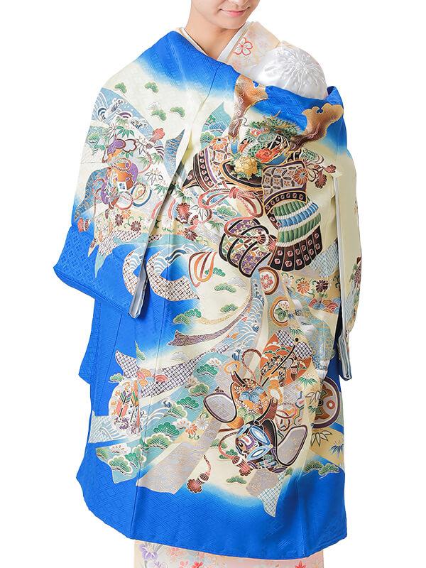 UB-3005 / 青地に龍頭の兜と束ね熨斗のお宮参り産着(祝い着・掛け着) 男の子 正絹