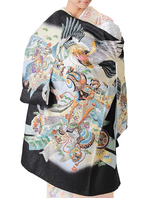 UB-3006 / 黒地に鷹と兜のお宮参り産着(祝い着・掛け着) 男の子 正絹