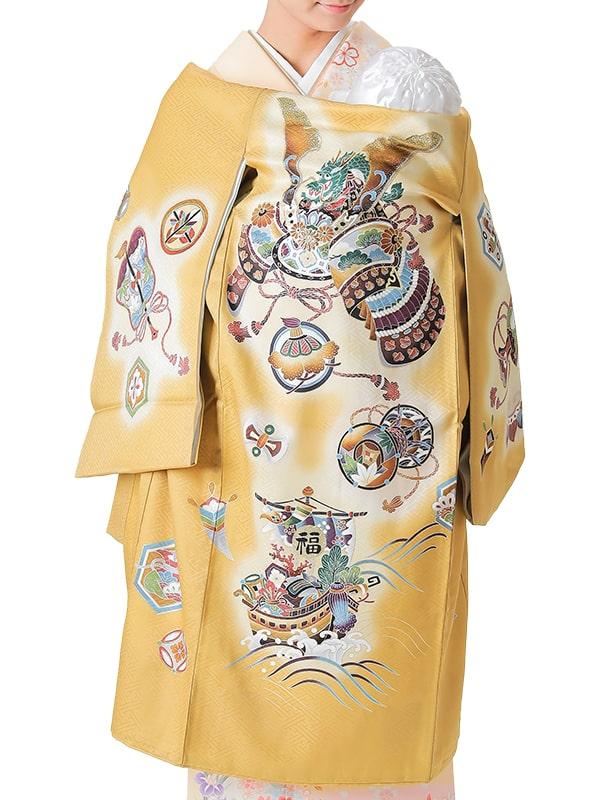UB-4002 / 金地に竜頭の兜と宝船のお宮参り産着(祝い着・掛け着) 男の子 正絹