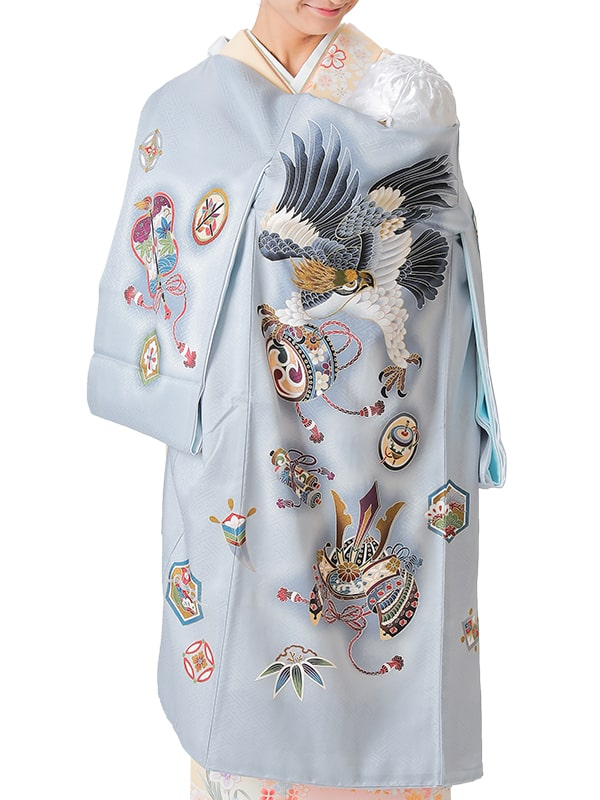 UB-4003 / アイスグレー地に鷹と兜のお宮参り産着(祝い着・掛け着) 男の子 正絹
