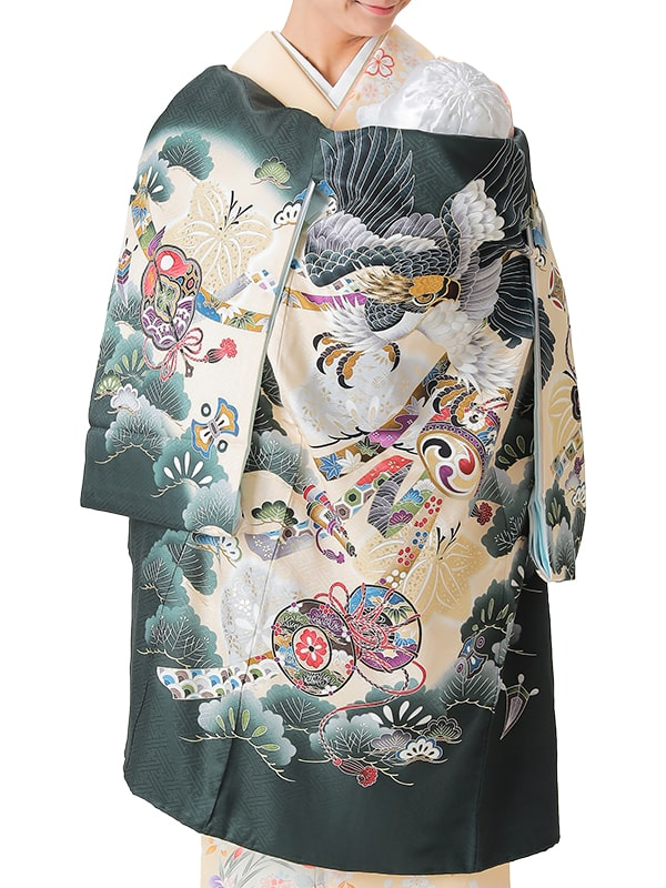 UB-5001 / 深緑地に鷹のお宮参り産着(祝い着・掛け着) 男の子 正絹