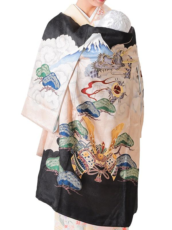 UB-5004 / 黒地に龍と兜のお宮参り産着(祝い着・掛け着) 男の子 正絹