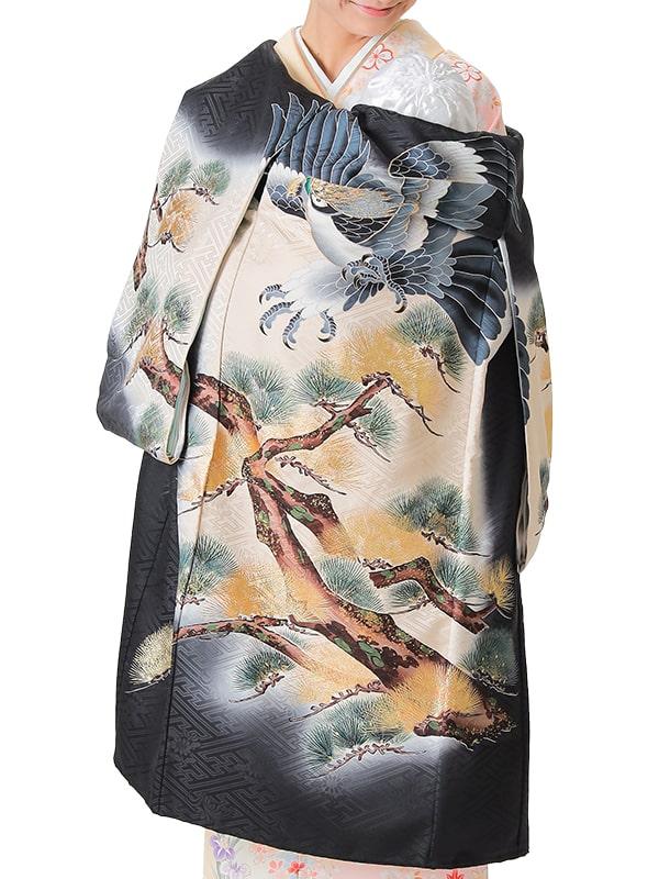 UB-6001 / 黒地に鷹のお宮参り産着(祝い着・掛け着) 男の子 正絹