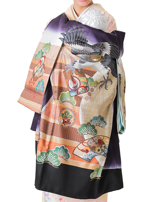 UB-6002 / 青紫とベージュ地に鷹のお宮参り産着(祝い着・掛け着) 男の子 正絹