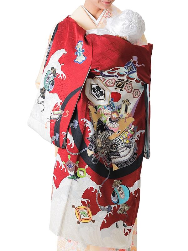UB-7001 / 紅地に兜と宝船のお宮参り産着(祝い着・掛け着) 男の子 正絹