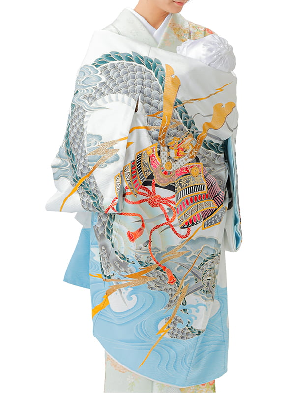 UB-Y01 / 白地に龍と兜と波のお宮参り産着(祝い着・掛け着) 男の子 ポリエステル