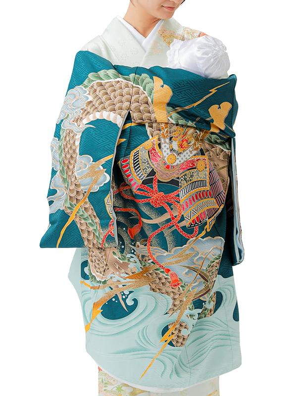 UB-Y02 / 緑地に龍と兜と波のお宮参り産着(祝い着・掛け着) 男の子 ポリエステル