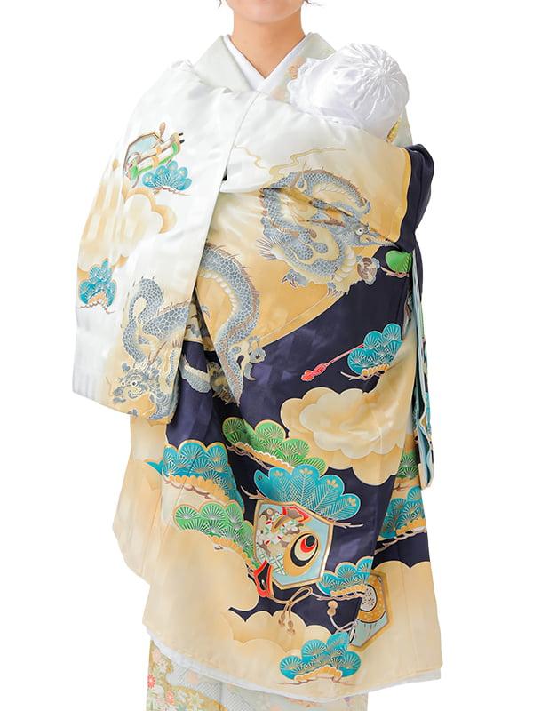 UB-Y04 / 紺地と白地に龍と松のお宮参り産着(祝い着・掛け着) 男の子 ポリエステル