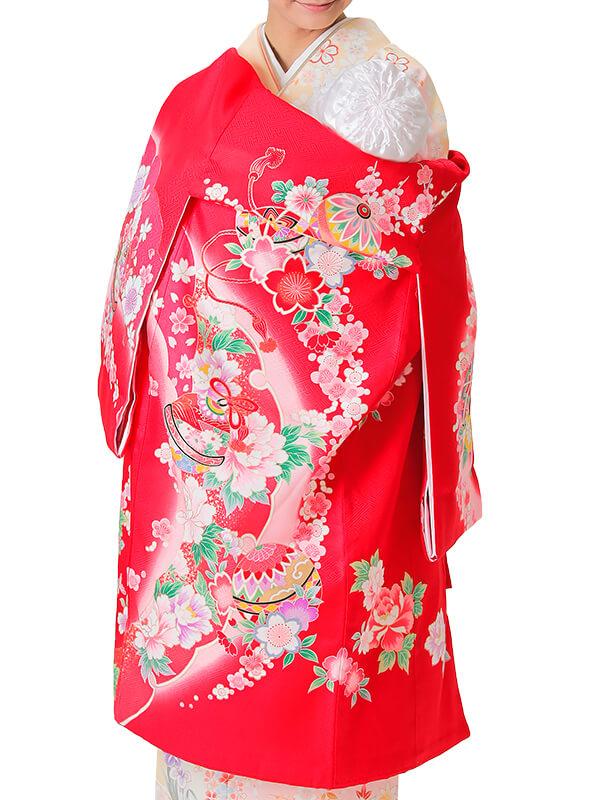 UG-1001 / 赤地に鞠、鈴、花車のお宮参り産着(祝い着・掛け着) 女の子 正絹