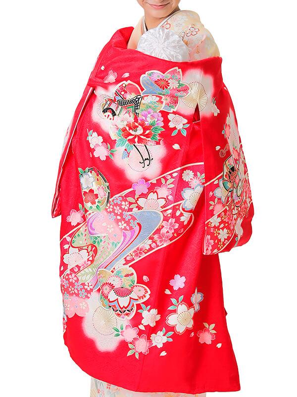 UG-1002 / 赤地に鼓と風車のお宮参り産着(祝い着・掛け着) 女の子 正絹