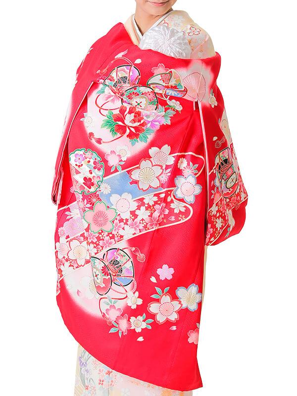 UG-1003 / 赤地に鼓と風車に雪輪のお宮参り産着(祝い着・掛け着) 女の子 正絹