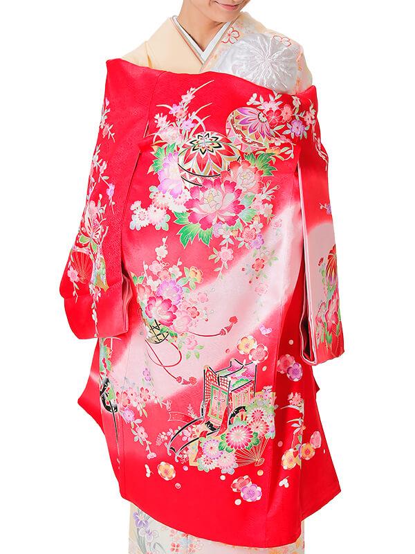 UG-2001 / 赤地に鞠、花車、蝶、御所車、扇、雪輪のお宮参り産着(祝い着・掛け着) 女の子 正絹