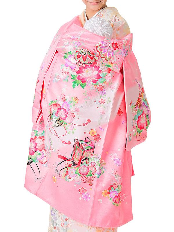 UG-2002 / ピンク地に鞠、花車、蝶、御所車、扇、雪輪のお宮参り産着(祝い着・掛け着) 女の子 正絹