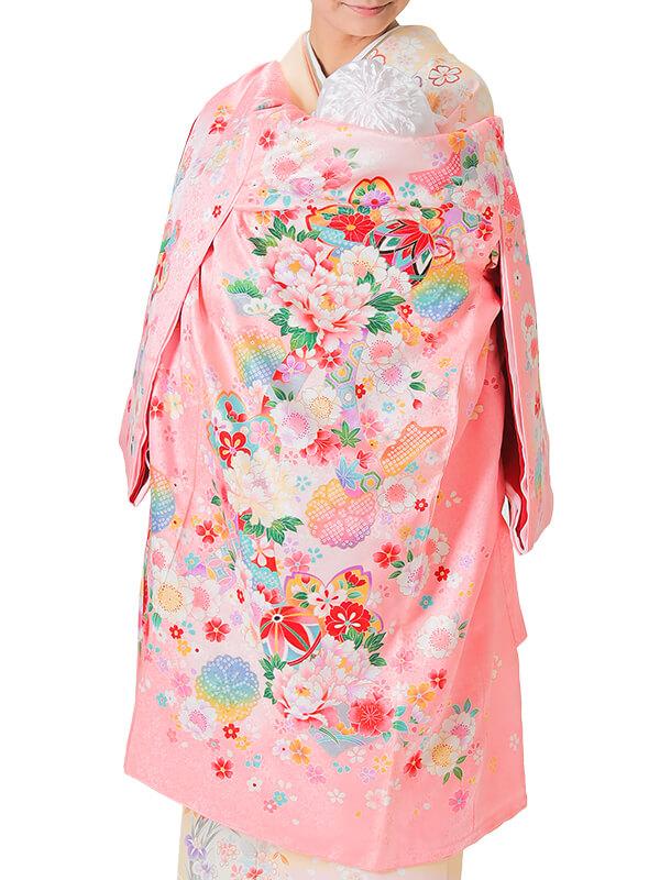 UG-3001 / ピンク地に鞠、鈴、熨斗、鹿の子文様のお宮参り産着(祝い着・掛け着) 女の子 正絹