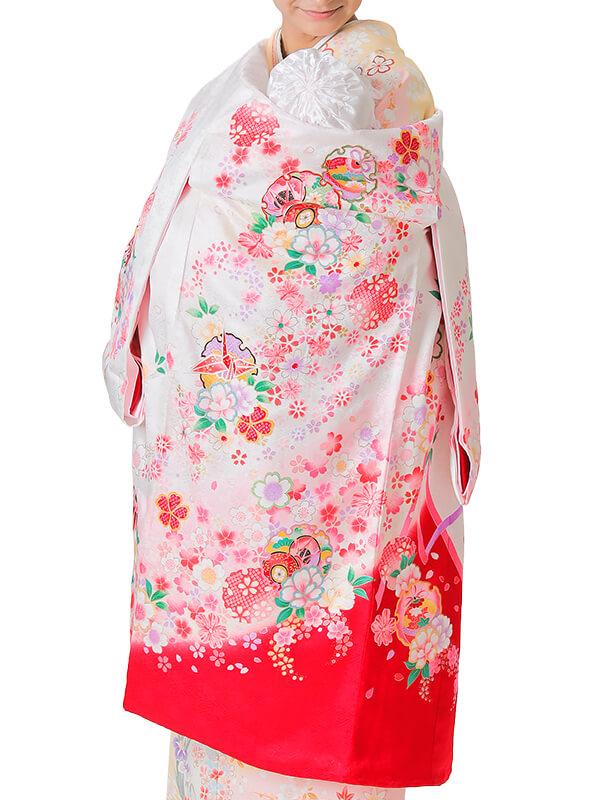 UG-3002 / 白地に裾が赤、鼓と鈴、鶴、鞠、雪輪のお宮参り産着(祝い着・掛け着) 女の子 正絹