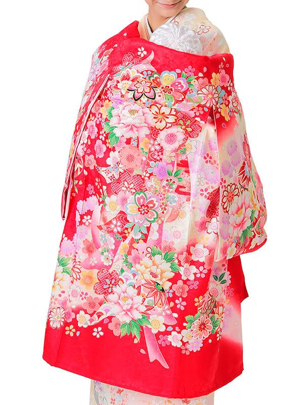 UG-3004 / 赤地に鞠、熨斗のお宮参り産着(祝い着・掛け着) 女の子 正絹