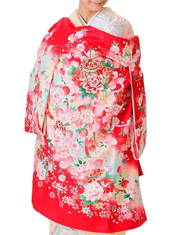 UG-3005 / 赤地に鞠と熨斗、鼓のお宮参り産着(祝い着・掛け着) 女の子 正絹