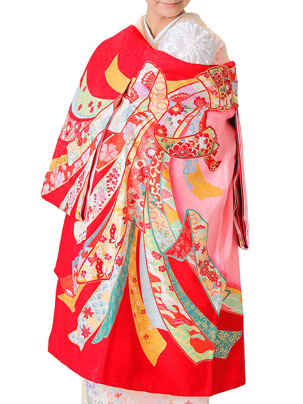 UG-4002 / 赤地に束ね熨斗のお宮参り産着(祝い着・掛け着) 女の子 正絹