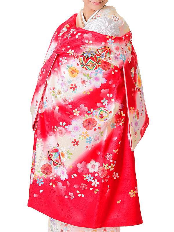 UG-4003 / 赤地に鞠のお宮参り産着(祝い着・掛け着) 女の子 正絹