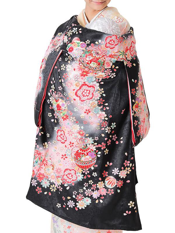 UG-4004 / 黒地に鈴と鞠のお宮参り産着(祝い着・掛け着) 女の子 正絹