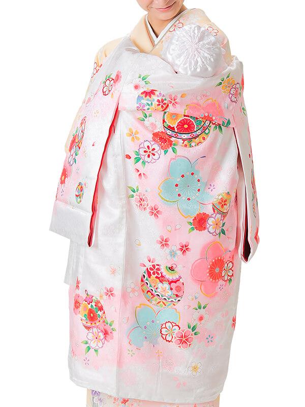 UG-4005 / 白地に鈴と鞠のお宮参り産着(祝い着・掛け着) 女の子 正絹