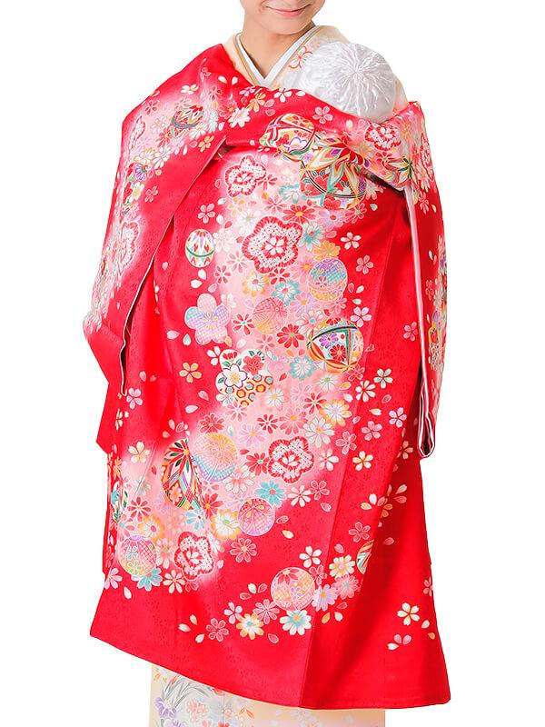 UG-4006 / 赤地に鈴と鞠のお宮参り産着(祝い着・掛け着) 女の子 正絹