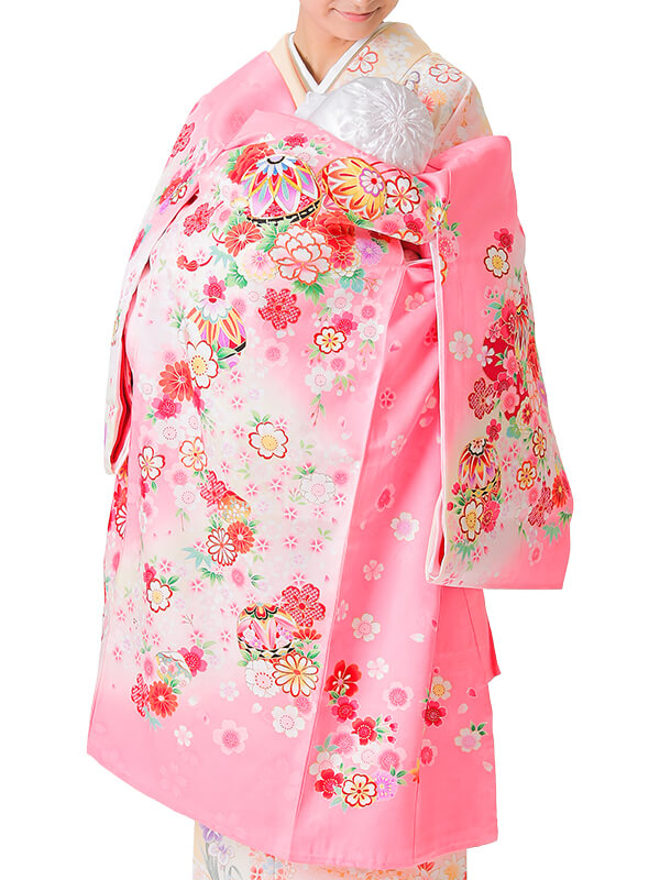 UG-4007 / ピンク地に鞠のお宮参り産着(祝い着・掛け着) 女の子 正絹