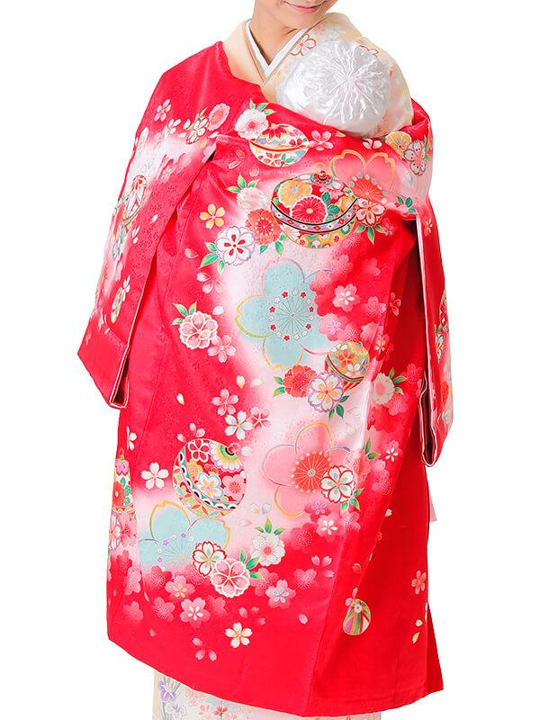 UG-4008 / 赤地に鈴と鞠のお宮参り産着(祝い着・掛け着) 女の子 正絹