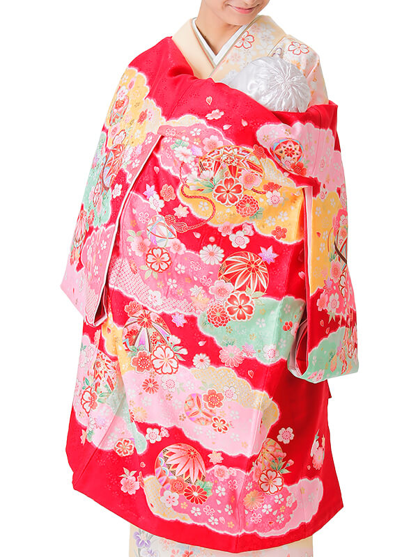 UG-5001 / 赤地に鞠のお宮参り産着(祝い着・掛け着) 女の子 正絹
