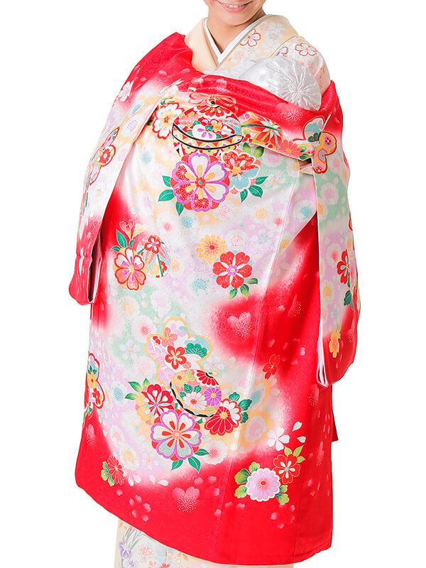 UG-5002 / 赤地に鈴と鞠のお宮参り産着(祝い着・掛け着) 女の子 正絹