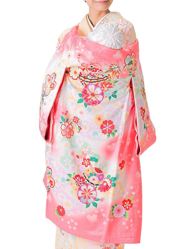 UG-5003 / ピンク地に鈴と鞠のお宮参り産着(祝い着・掛け着) 女の子 正絹