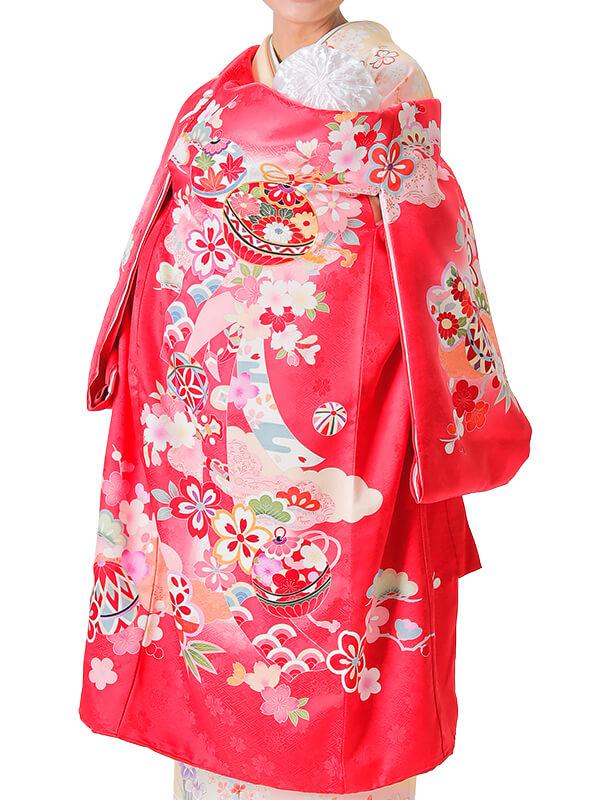 UG-6001 / 赤地に鞠、鈴と束ね熨斗のお宮参り産着(祝い着・掛け着) 女の子 正絹