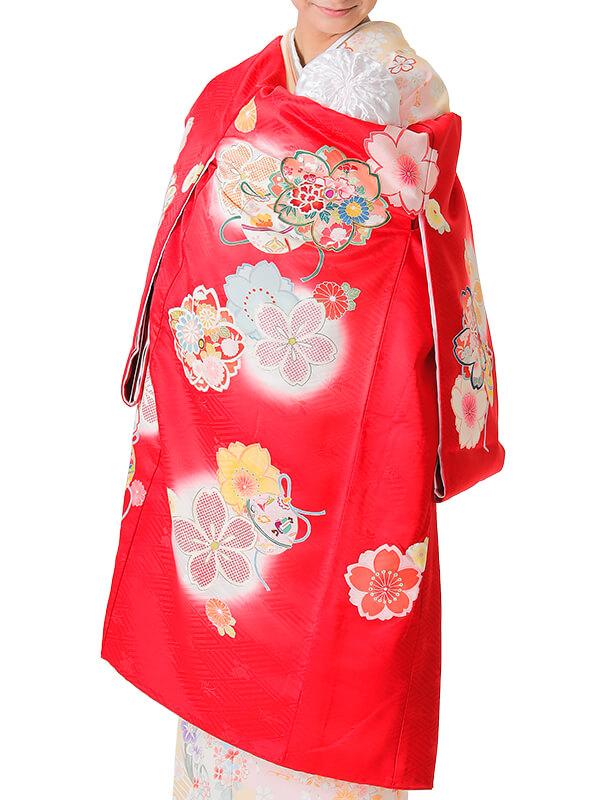 UG-7001 / 赤地に鈴のお宮参り産着(祝い着・掛け着) 女の子 正絹