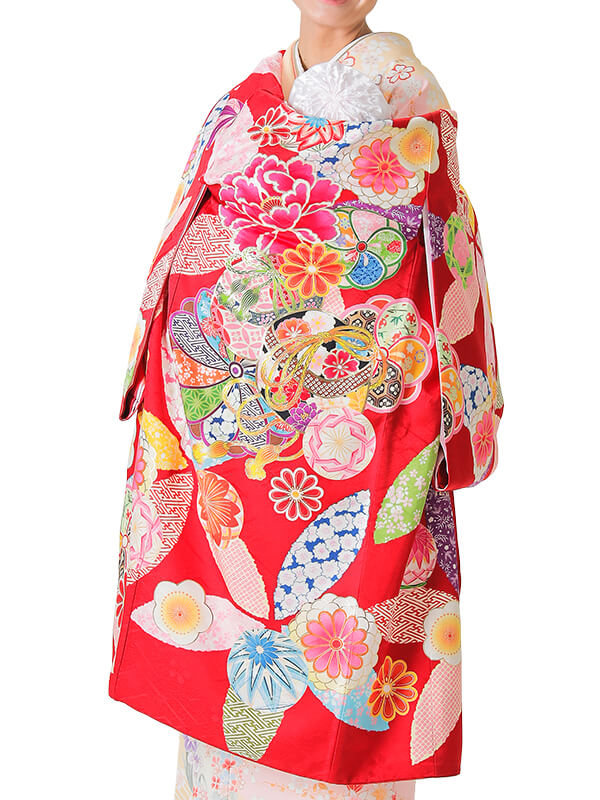 UG-7002 / 赤地に鞠と文箱のお宮参り産着(祝い着・掛け着) 女の子 正絹