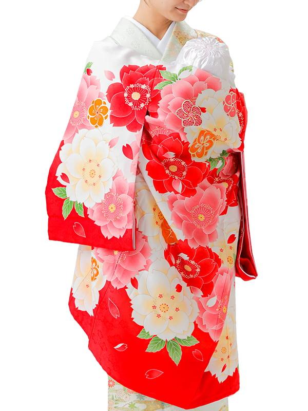 UG-Y01 / 赤地に大きな八重桜のお宮参り産着(祝い着・掛け着) 女の子 ポリエステル