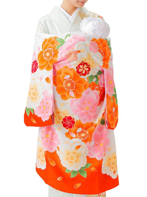 UG-Y02 / 橙地に大きな八重桜のお宮参り産着(祝い着・掛け着) 女の子 ポリエステル