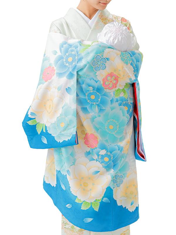 UG-Y03 / 水色地に大きな八重桜のお宮参り産着(祝い着・掛け着) 女の子 ポリエステル