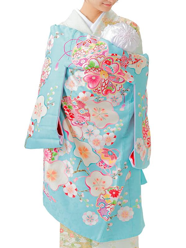 UG-Y04 / 水色地に鞠と梅と折り鶴のお宮参り産着(祝い着・掛け着) 女の子 ポリエステル