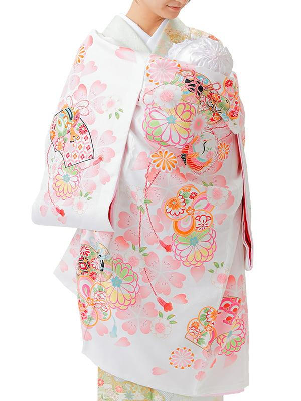 UG-Y05 / 白地に鼓と鶴のお宮参り産着(祝い着・掛け着) 女の子 ポリエステル