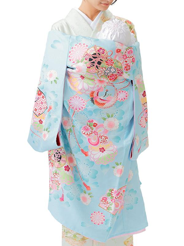 UG-Y06 / 水色地に鼓と鶴のお宮参り産着(祝い着・掛け着) 女の子 ポリエステル