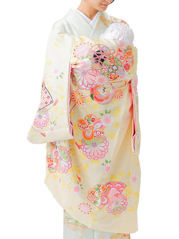 UG-Y07 / 薄黄色地に鼓と鶴のお宮参り産着(祝い着・掛け着) 女の子 ポリエステル